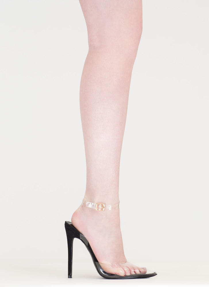 Clearly Winning Pointy Faux Nubuck Heels BLACK