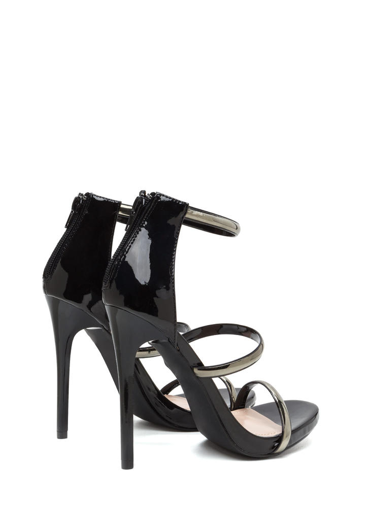 Strappy Decision Faux Patent Heels BLACK