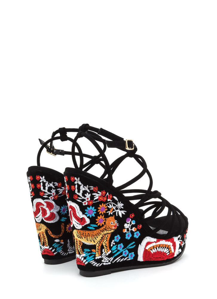 Go Get 'Em Tiger Embroidered Wedges BLACK