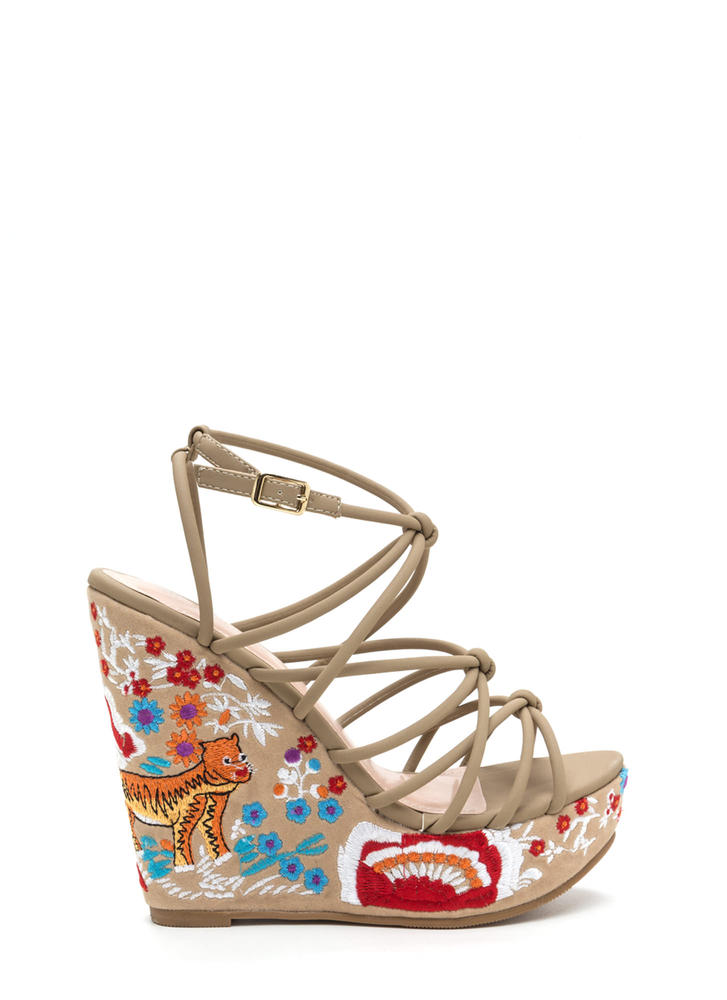 Go Get 'Em Tiger Embroidered Wedges NUDE
