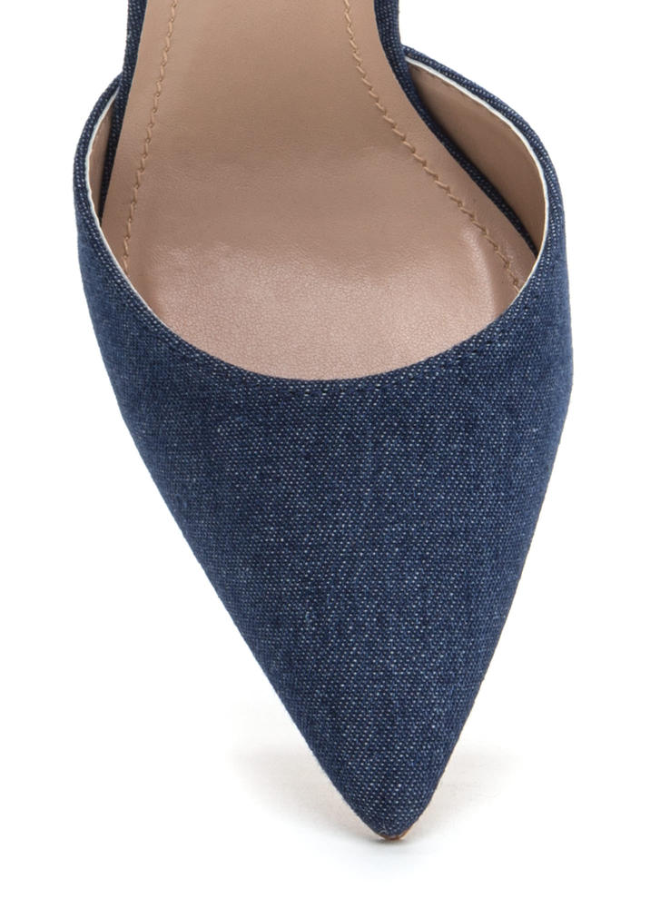 Tied For First Pointy Chunky Denim Heels BLUE