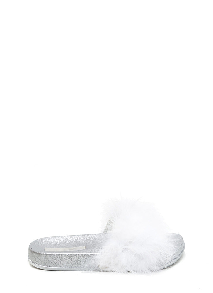 Feather Together Slide Sandals WHITE