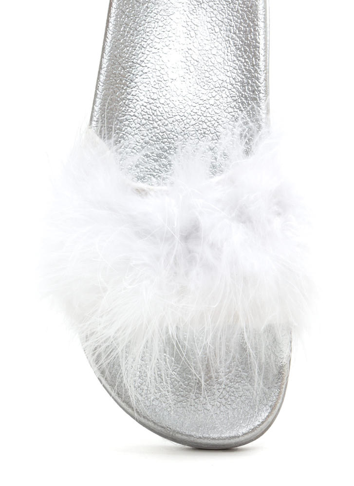 Feather Together Slide Sandals WHITE (Final Sale)