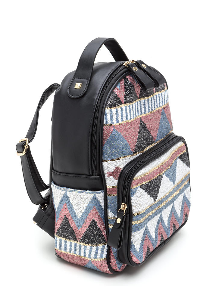 Geo All The Way Sequined Backpack PINKBLACK