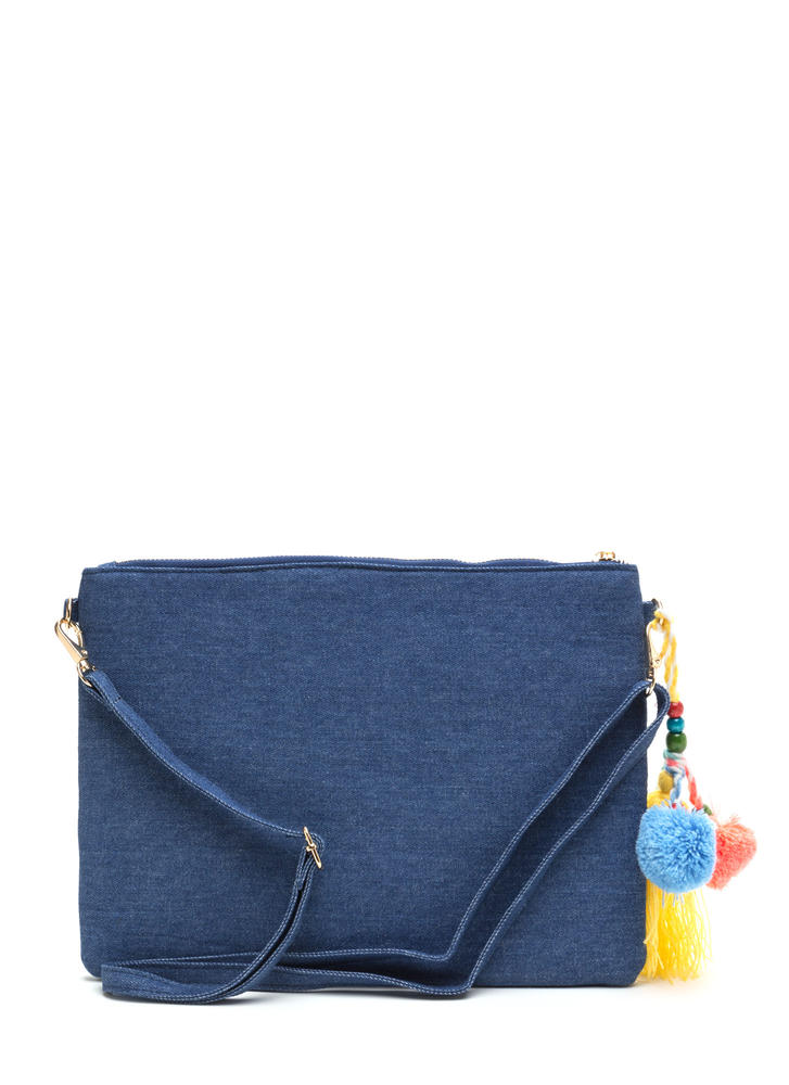Boho Darling Embellished Denim Clutch DKBLUE (Final Sale)