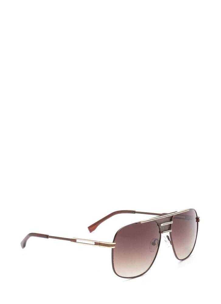 Look The Part Aviator Sunglasses BROWNGOLD