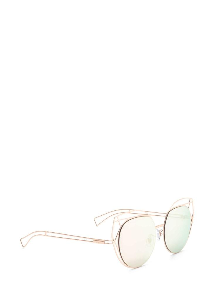 Poolside Stay Cut-Out Round Sunglasses PINK