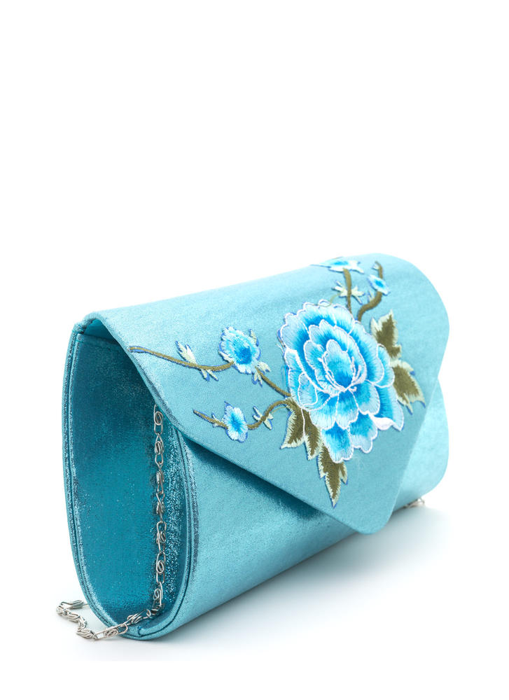 La Vie En Rose Shiny Embroidered Clutch BLUE