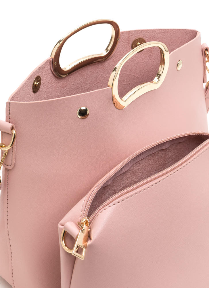 Day To Day Sleek Faux Leather Bag PINK