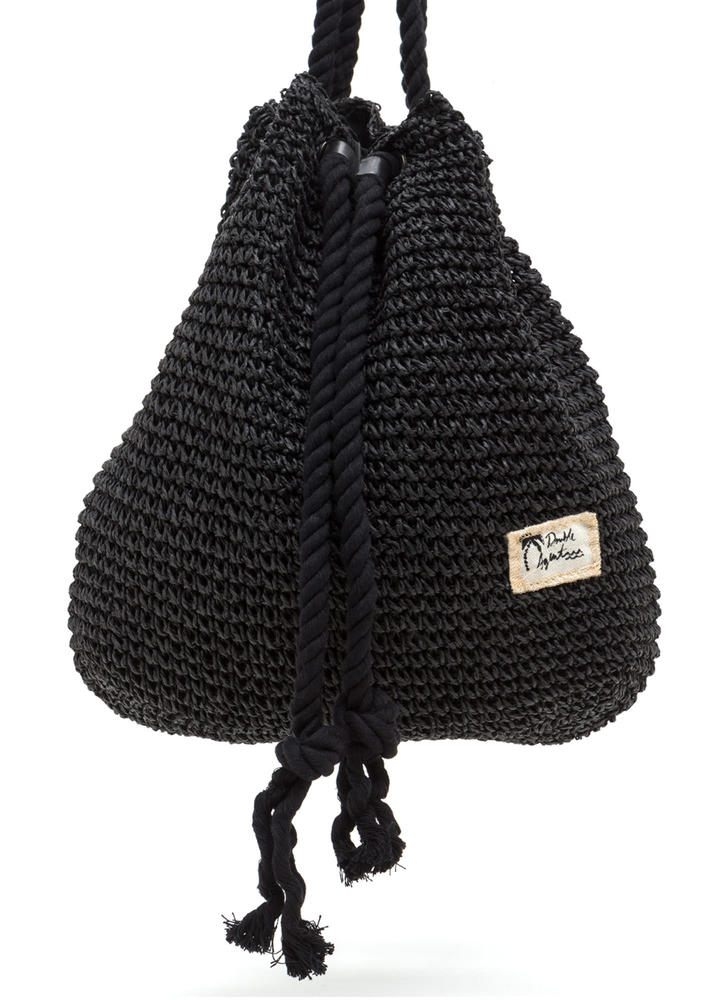 Nautical Charm Woven Straw Backpack BLACK (Final Sale)