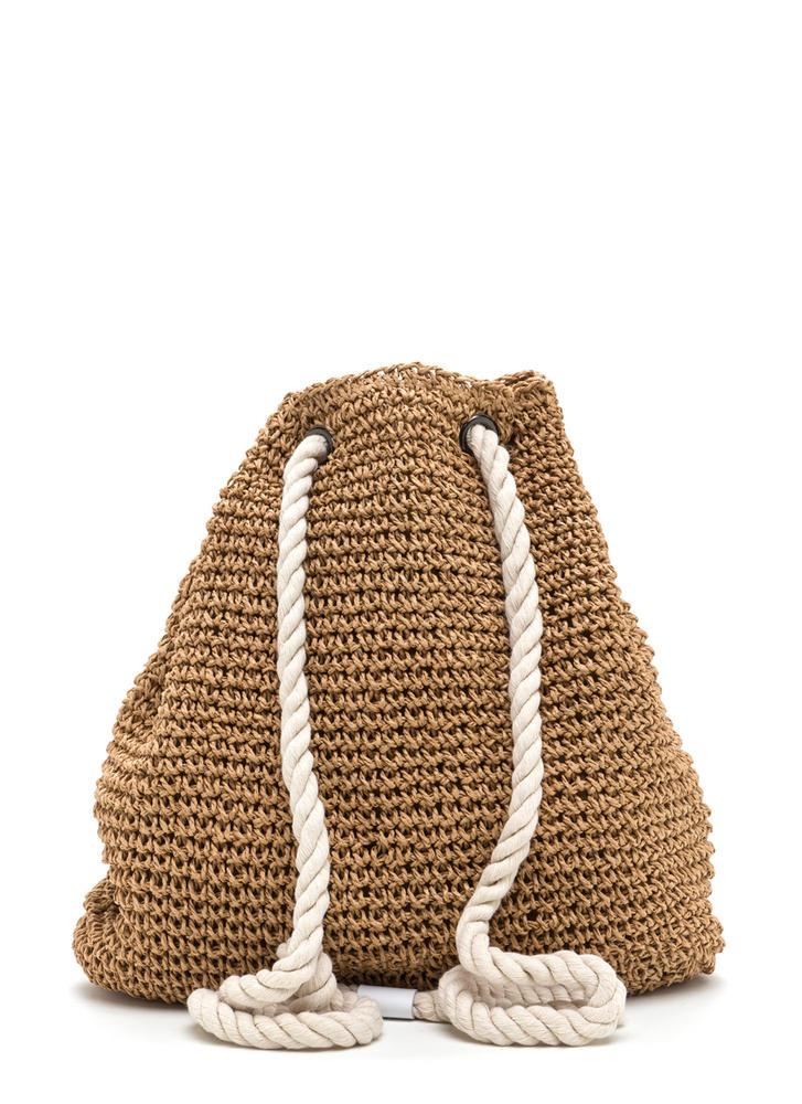 Nautical Charm Woven Straw Backpack BROWN (Final Sale)