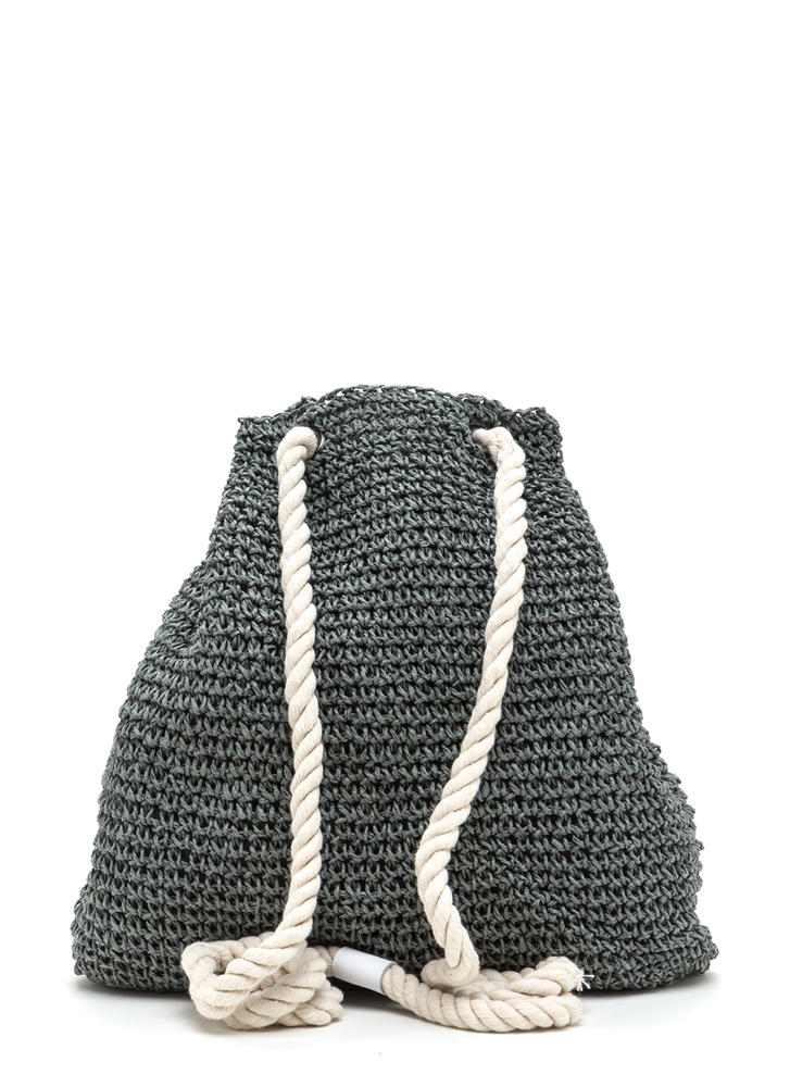 Nautical Charm Woven Straw Backpack GREY (Final Sale)