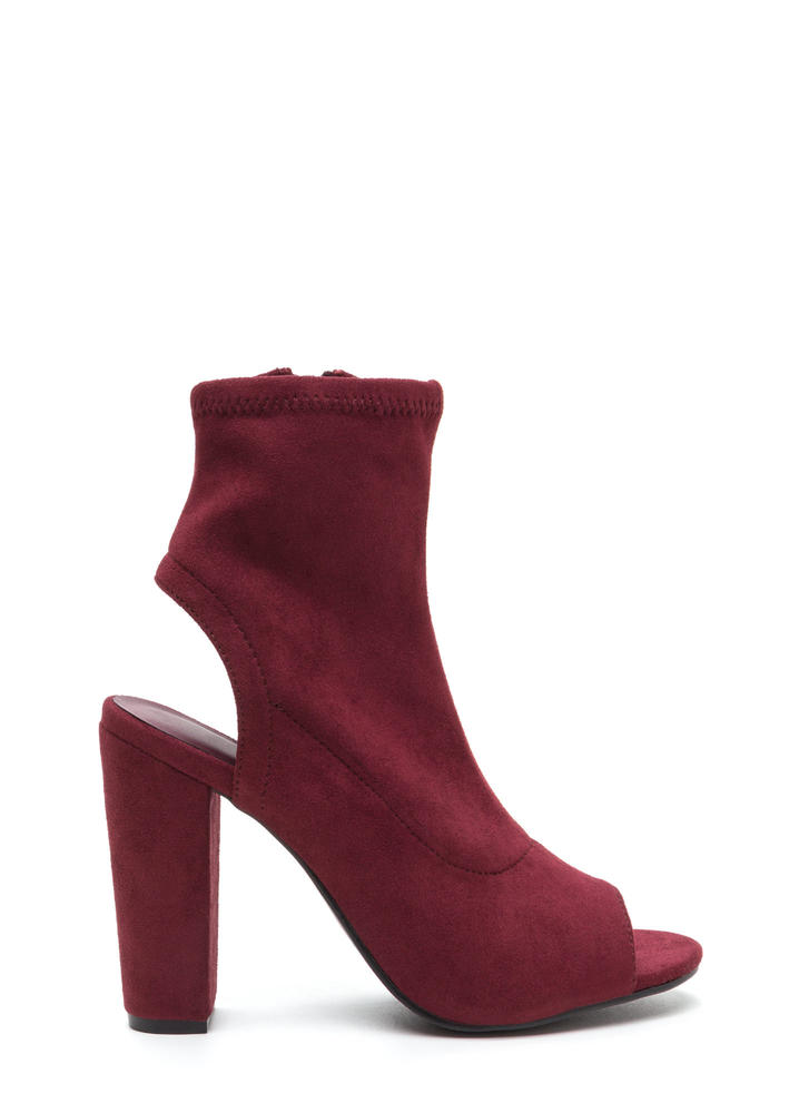 Take A Peep-Toe Chunky Cut-Out Booties BURGUNDY