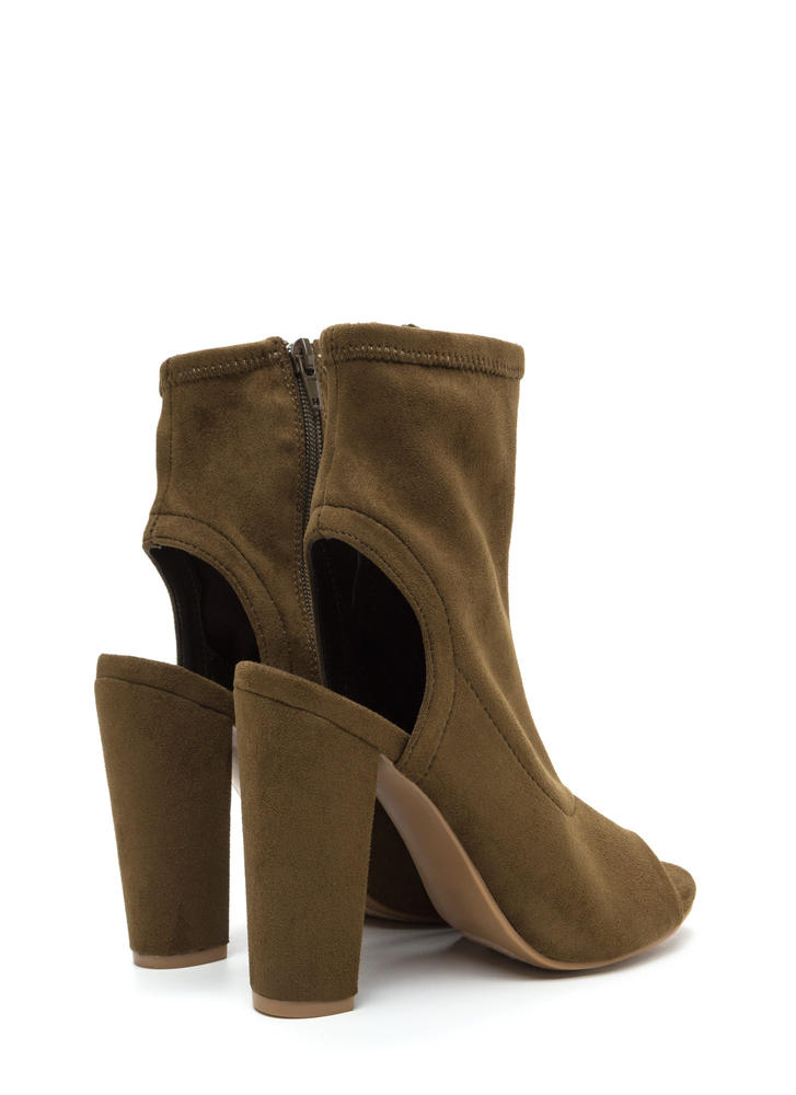 Take A Peep-Toe Chunky Cut-Out Booties OLIVE