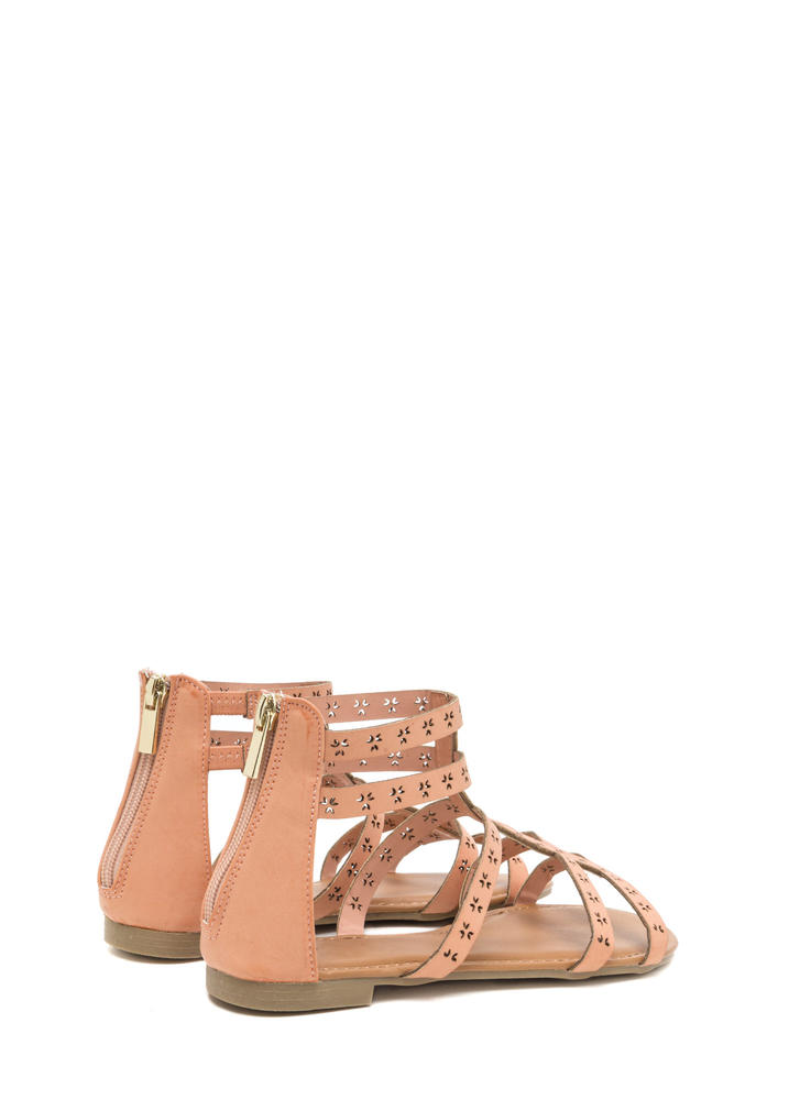 Lead The Way Perforated Caged Sandals BLUSH