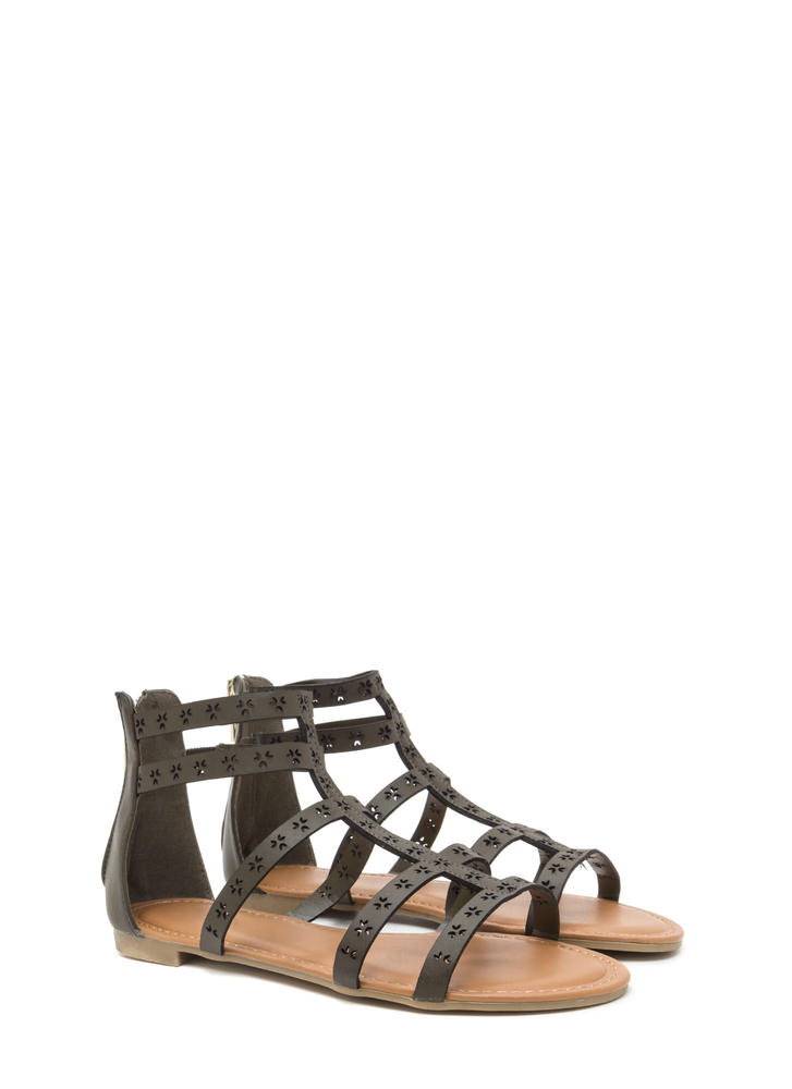 Lead The Way Perforated Caged Sandals OLIVE
