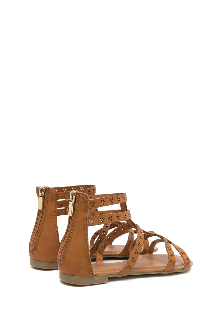 Lead The Way Perforated Caged Sandals TAN