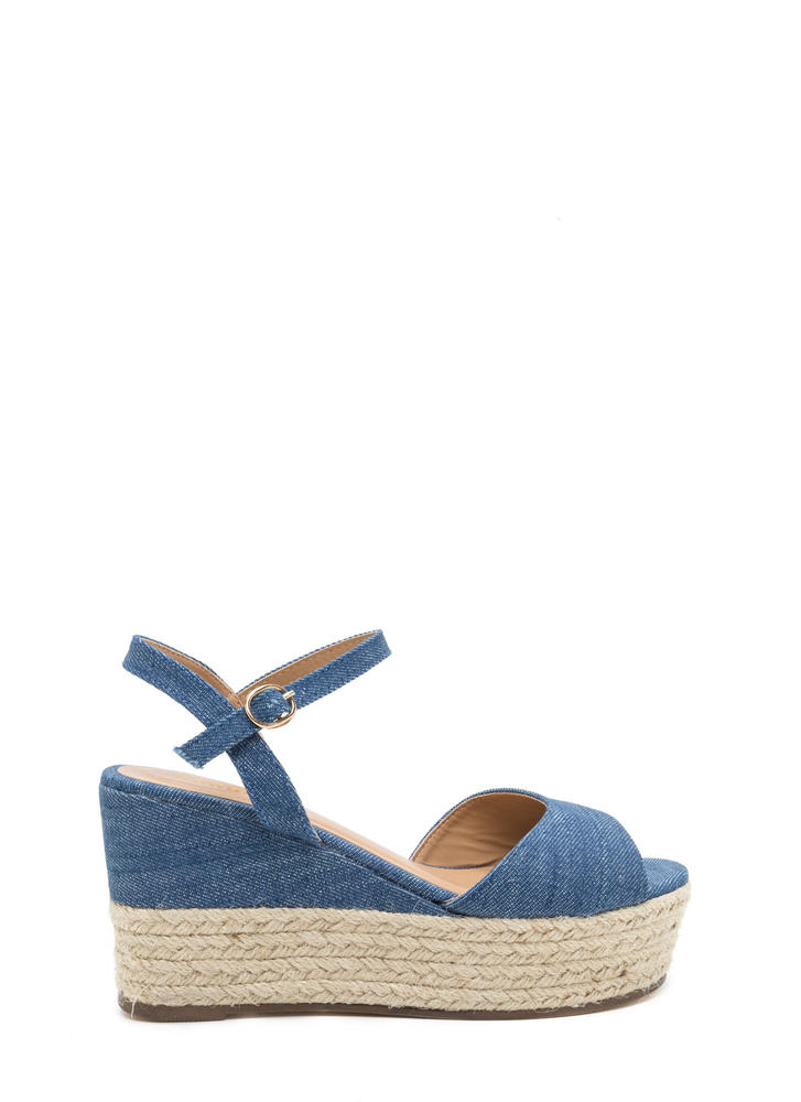 Boho Story Denim Espadrille Wedges BLUE