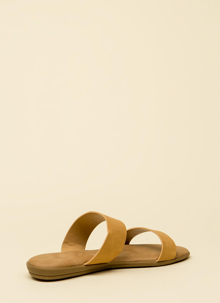 Double Up Faux Leather Slide Sandals NATURAL