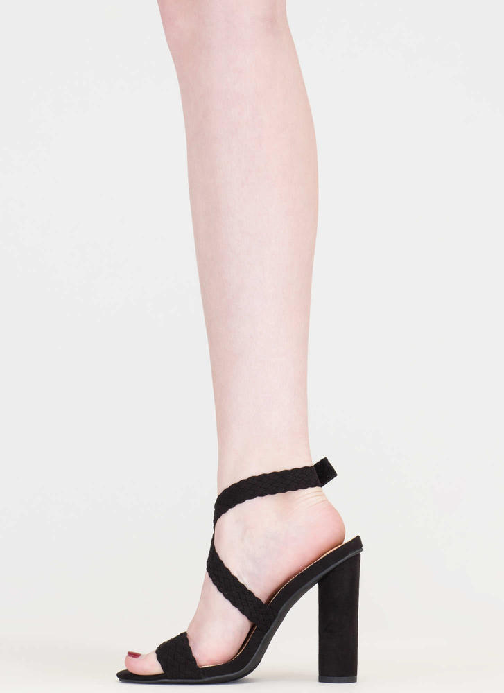New Destination Chunky Woven Heels BLACK