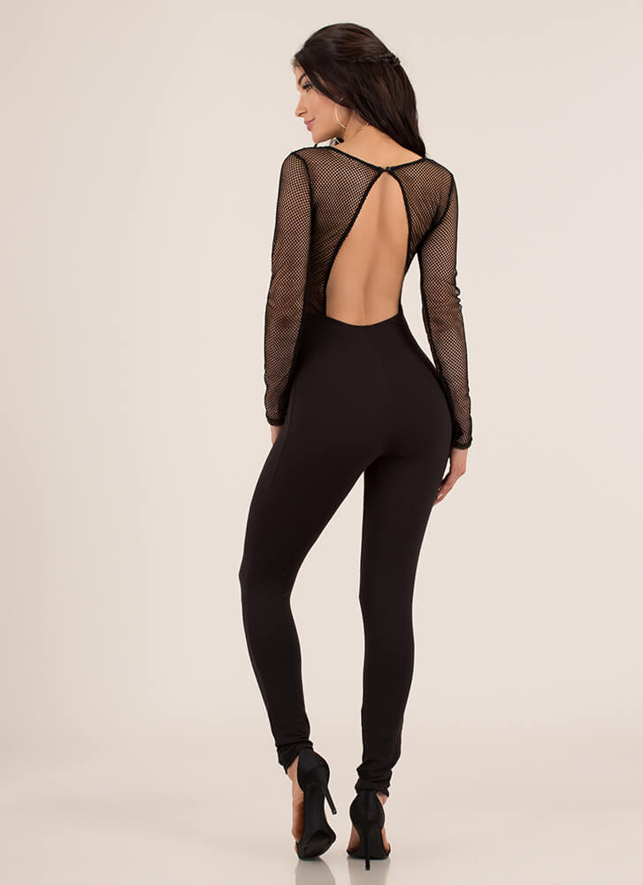Sheer Determination Cut-Out Net Jumpsuit BLACK (Final Sale)