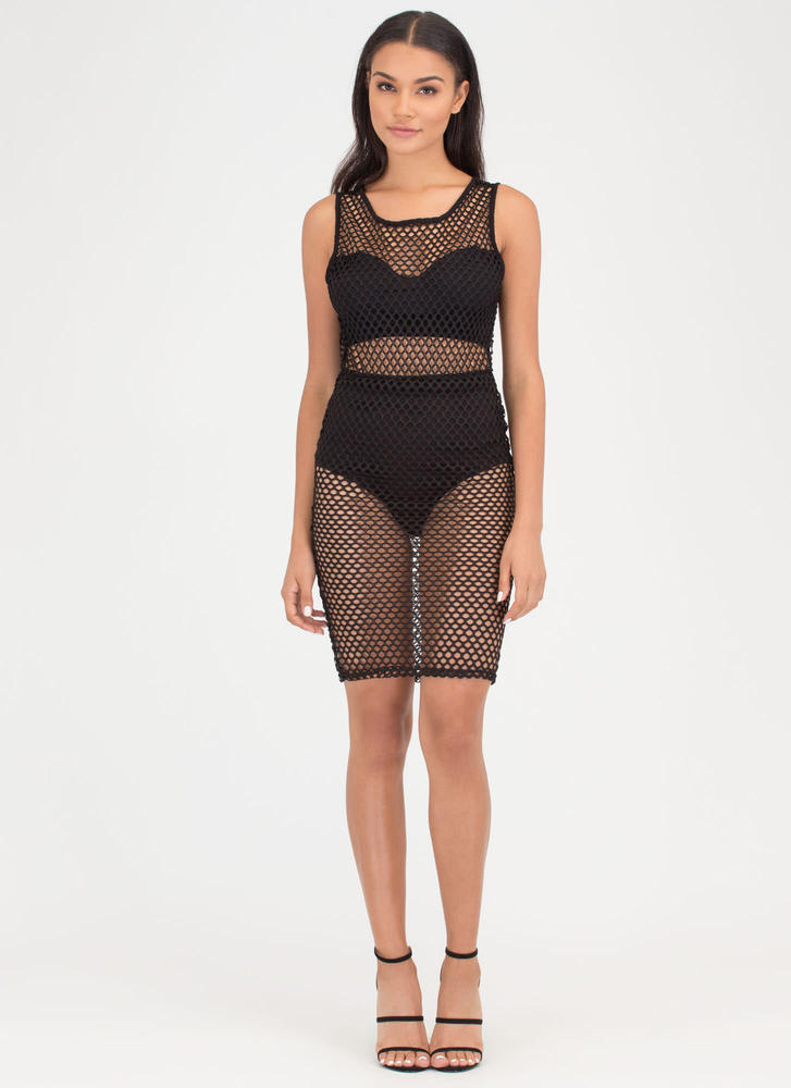 Holes In One Sports Mesh Midi Dress BLACK