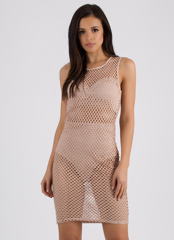 Holes In One Sports Mesh Midi Dress NUDE