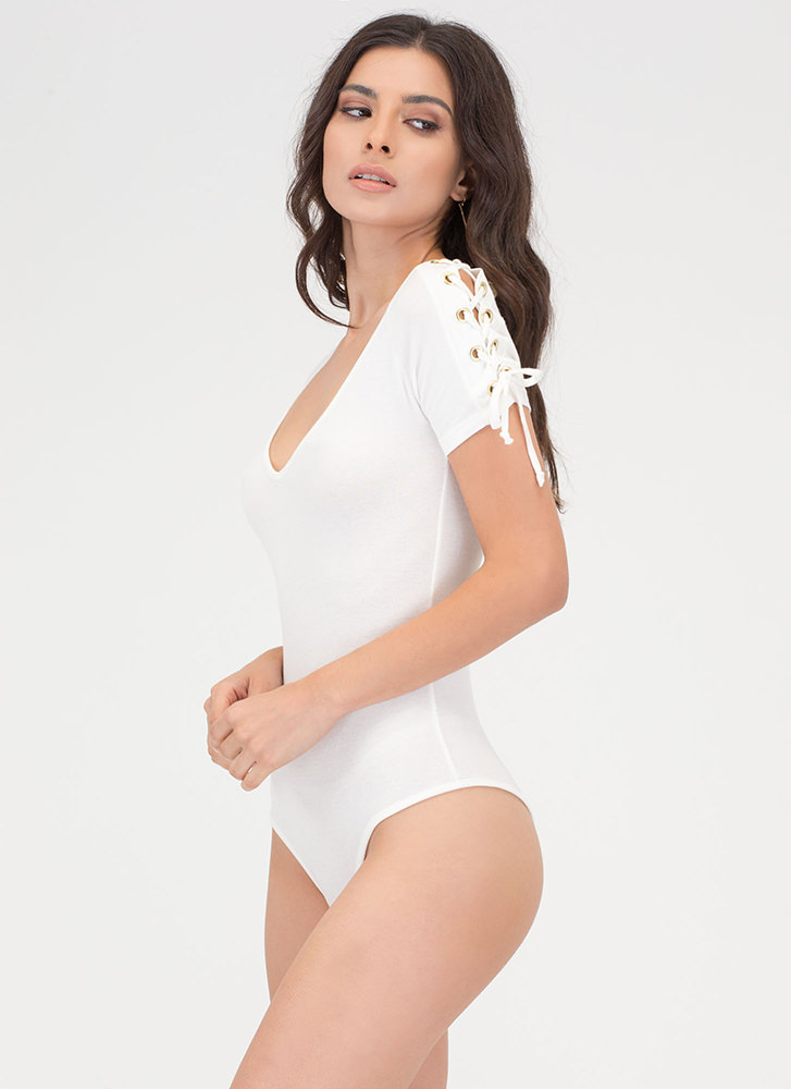 Tied At The Top Lace-Up Bodysuit WHITE