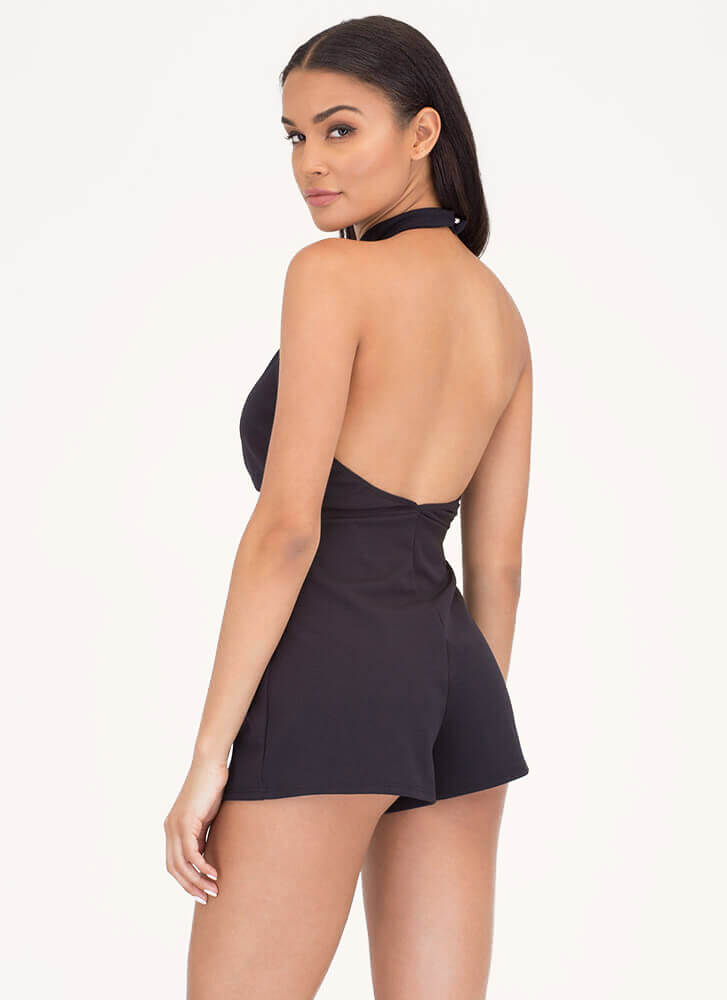 Chic Twist Plunging Choker Romper BLACK