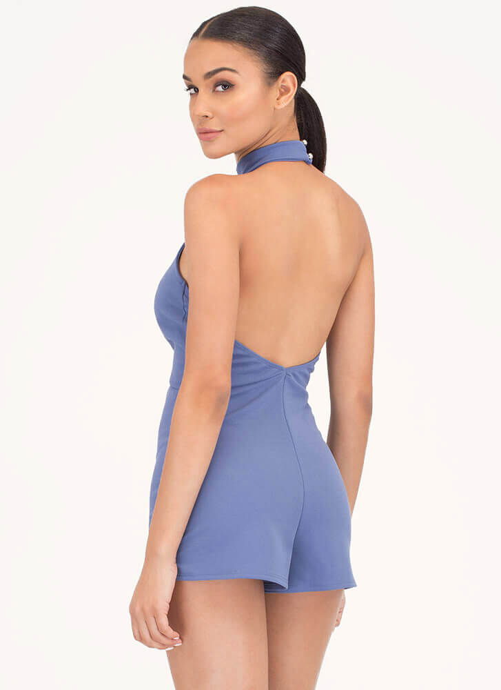 Chic Twist Plunging Choker Romper BLUE
