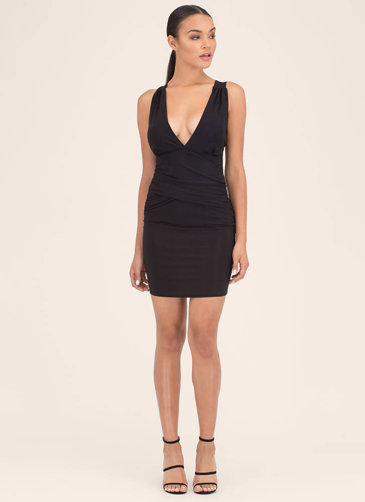 X-ecutive Decision Ruched Minidress BLACK