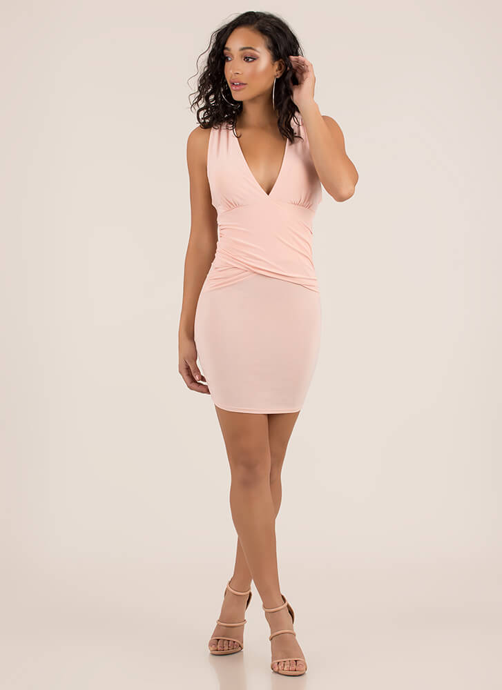X-ecutive Decision Ruched Minidress BLUSH