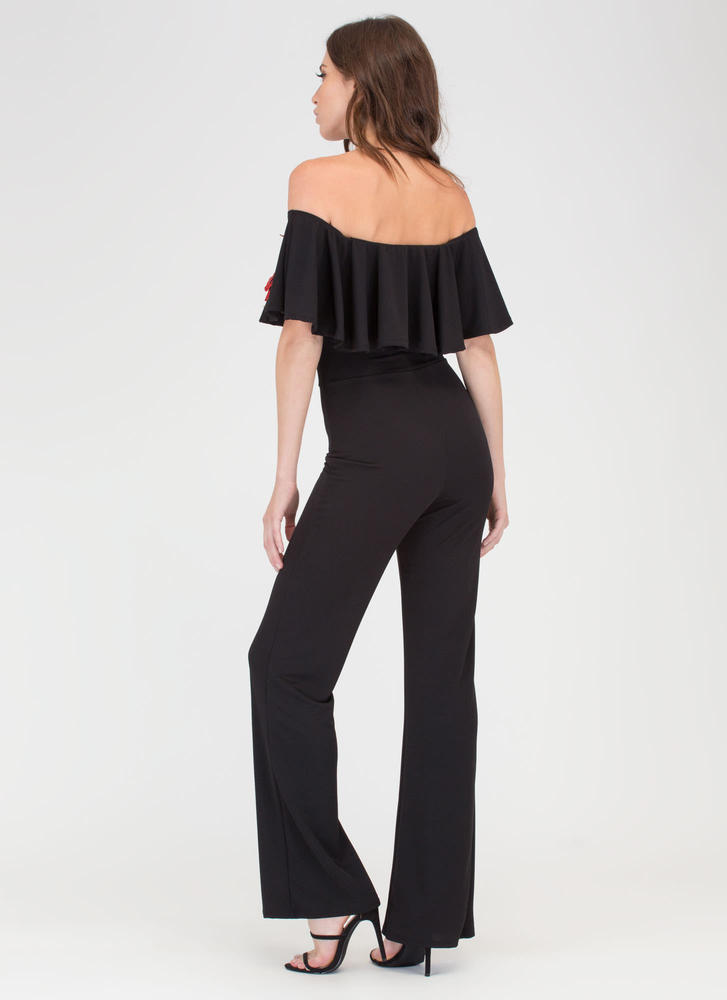 Three Flowers Off-Shoulder Jumpsuit BLACK