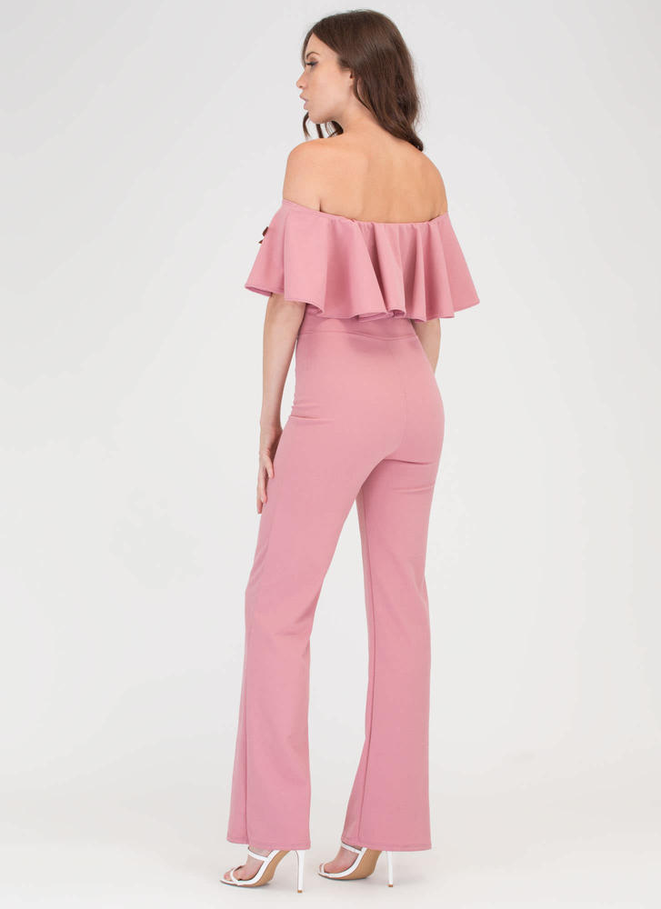 Three Flowers Off-Shoulder Jumpsuit MAUVE