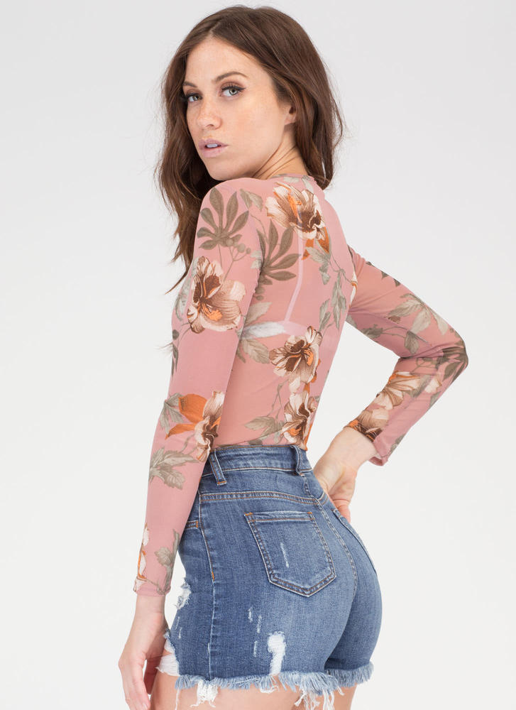 Hibiscus Honey Mesh Thong Bodysuit MAUVE