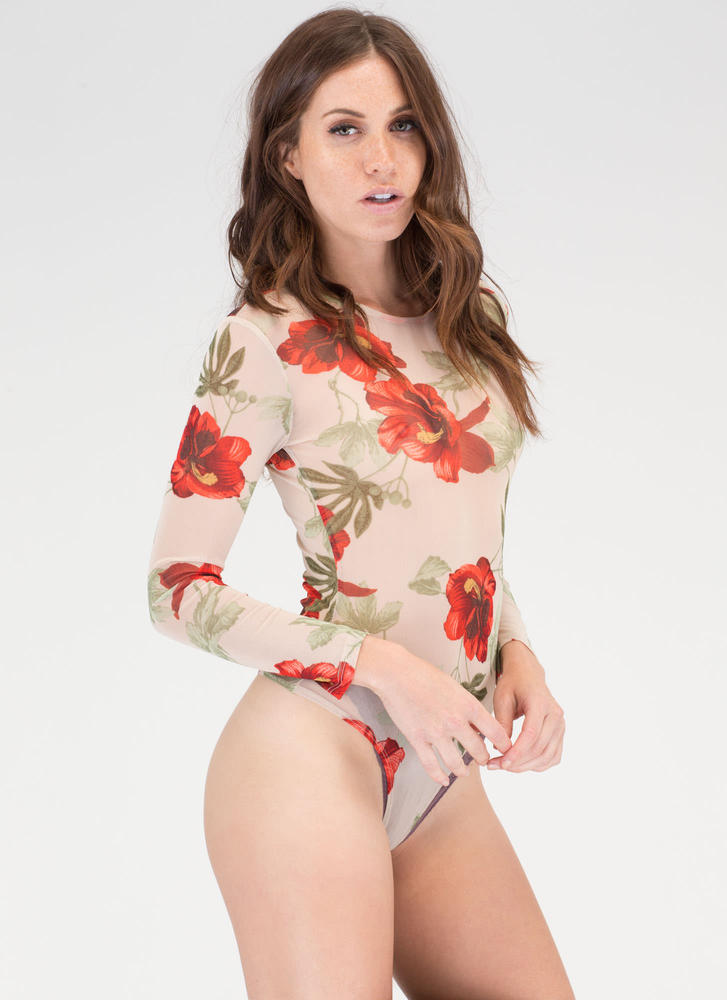 Hibiscus Honey Mesh Thong Bodysuit NUDE