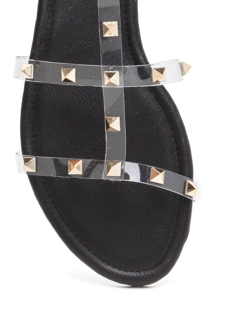 Clear Fave Studded Faux Leather Sandals BLACK