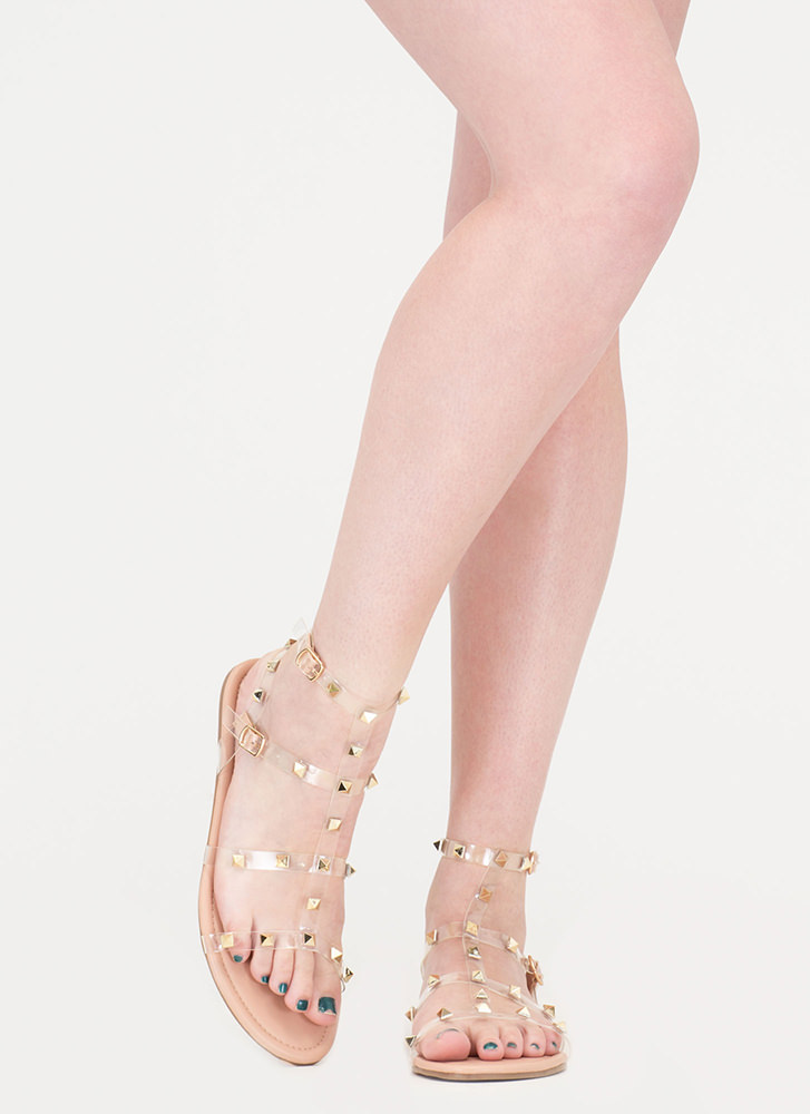 Clear Fave Studded Faux Leather Sandals NUDE
