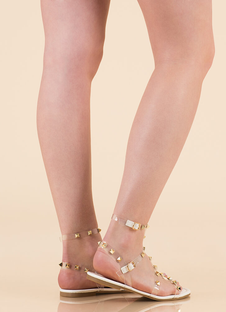 Clear Fave Studded Faux Leather Sandals WHITE