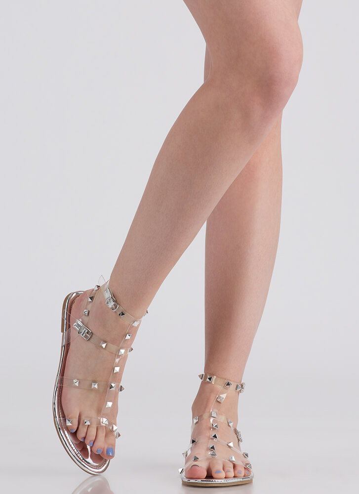 Clear Fave Studded Metallic Sandals SILVER