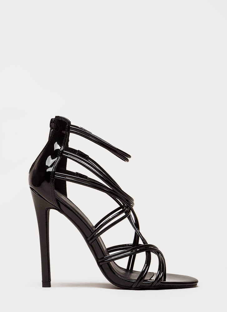 Stylish Step Faux Patent Caged Heels BLACK