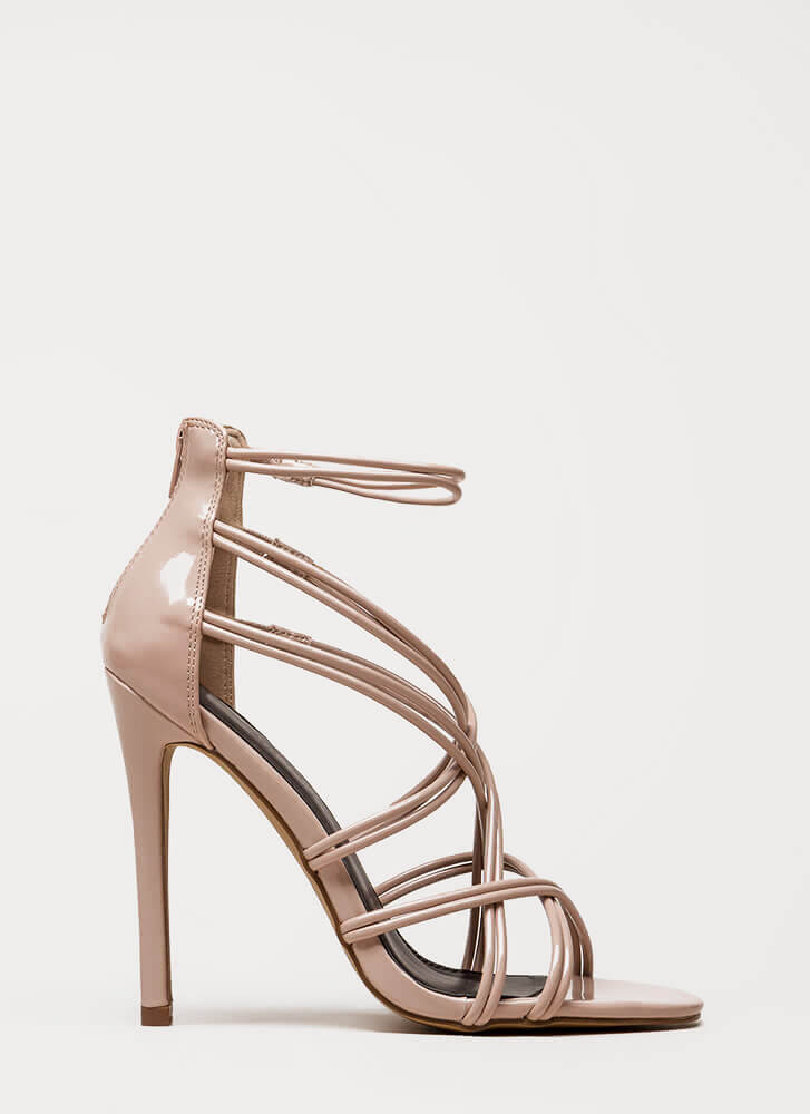 Stylish Step Faux Patent Caged Heels NUDE