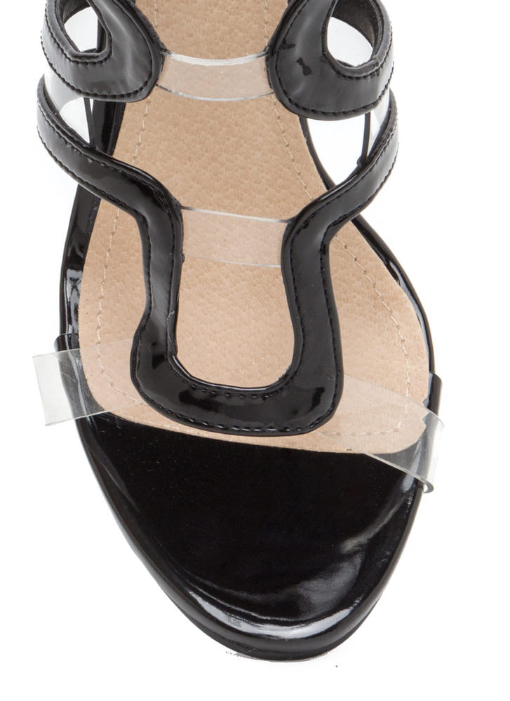 Around The Bend Caged Faux Patent Heels BLACK (Final Sale)