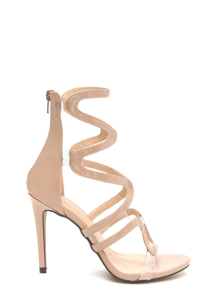 Around The Bend Caged Faux Patent Heels NUDE
