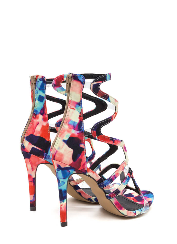 Around The Bend Caged Watercolor Heels MULTI