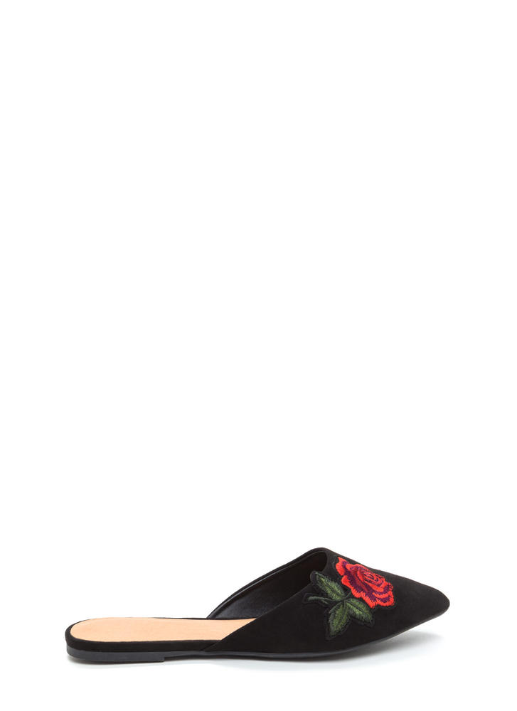 Rose To Fame Pointy Mule Flats BLACK