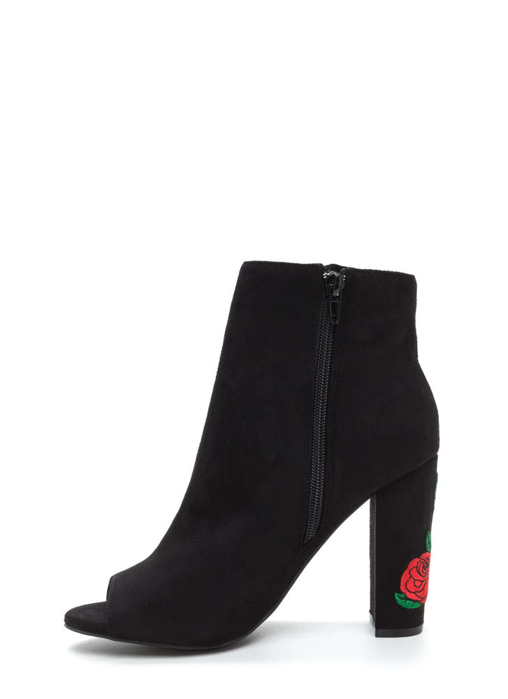 Rosy Escape Chunky Embroidered Booties BLACK