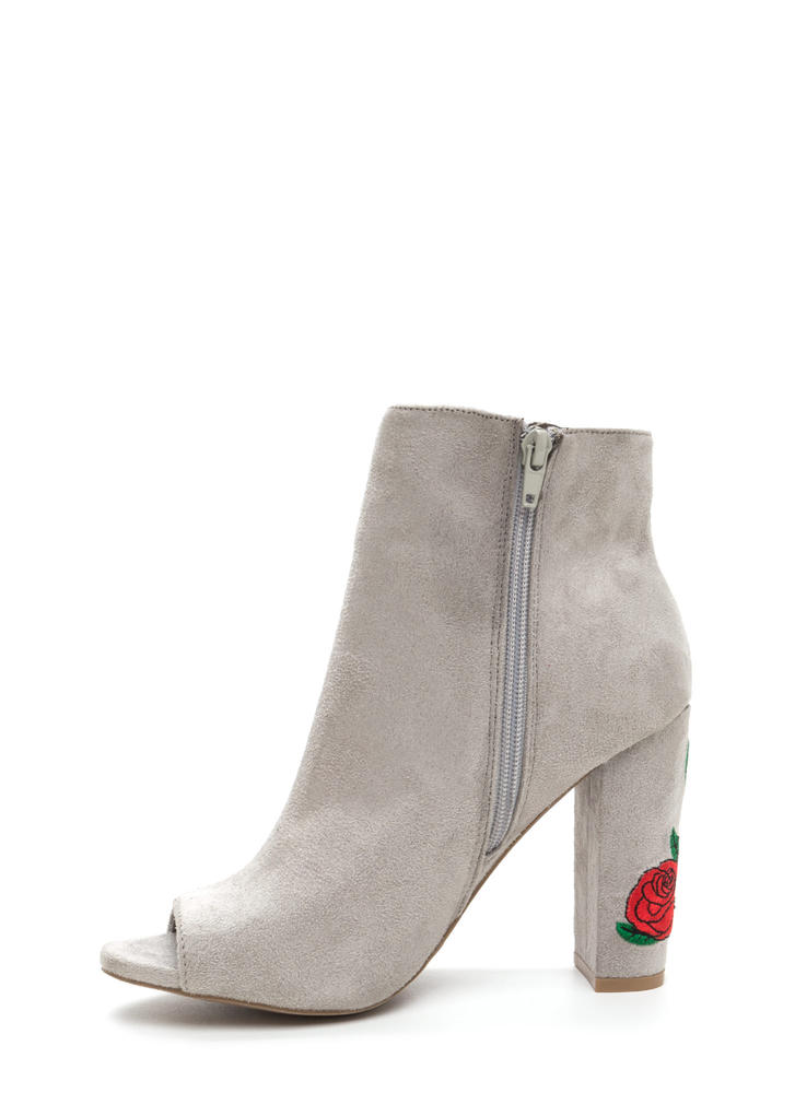Rosy Escape Chunky Embroidered Booties LTGREY