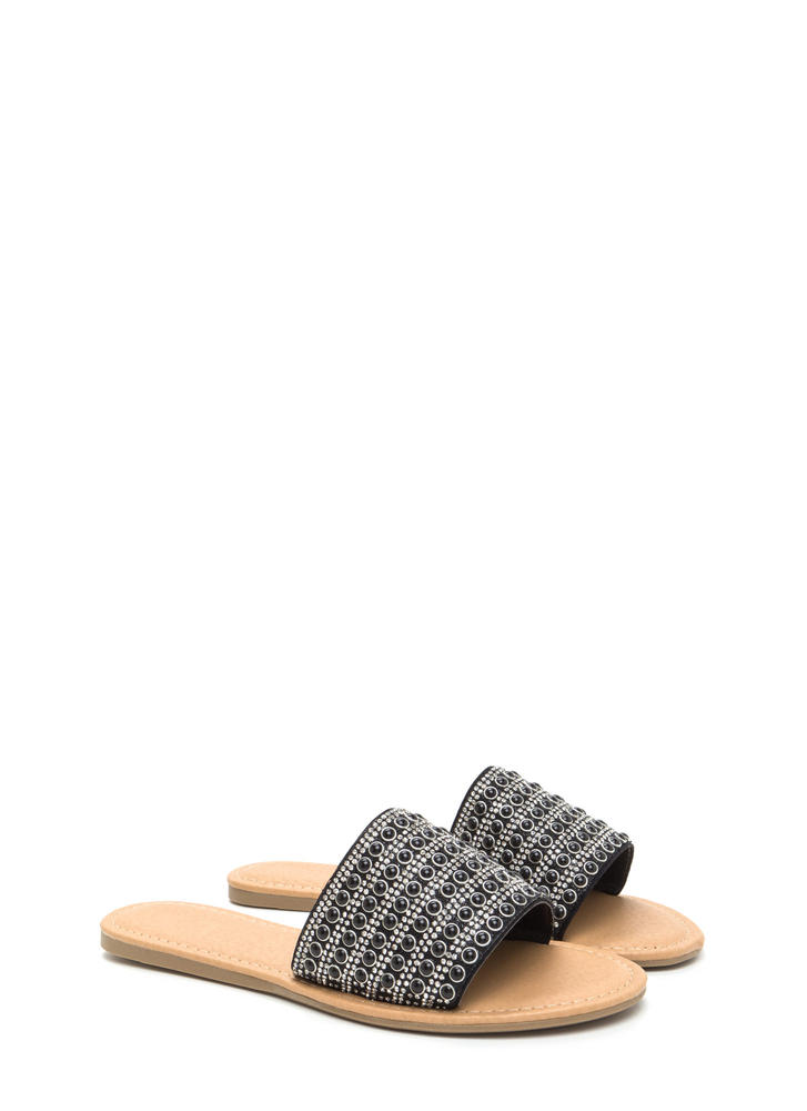 Bedazzled Beauty Jeweled Slide Sandals BLACK