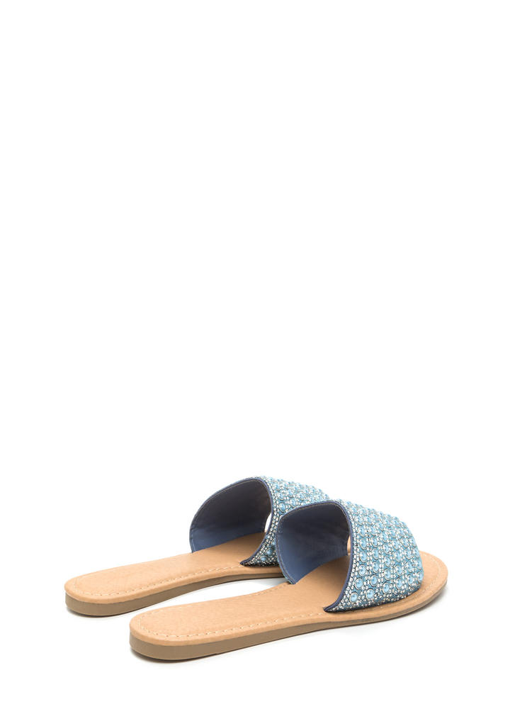 Bedazzled Beauty Jeweled Slide Sandals BLUE